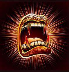 Mouth open blood fang halloween vampire jaws fang vector