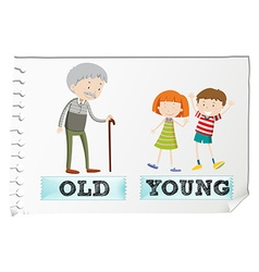 Opposite adjectives with old and young vector image