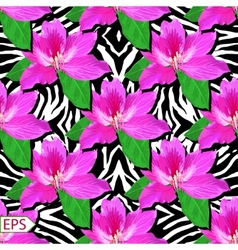 Painted flowers of seamless background vector image