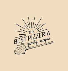 Pizza logo family pizzeria emblem icon vector