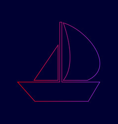 Sail boat sign line icon with gradient vector
