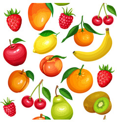 seamless pattern of fruits and berries vector image vector image