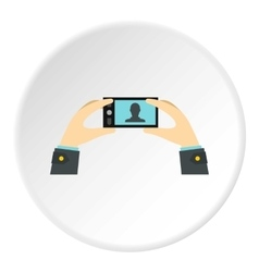 Selfie with mobile phone icon flat style vector