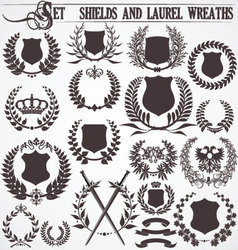 set - shields and laurel wreaths vector image vector image
