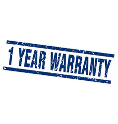 Square grunge blue 1 year warranty stamp vector