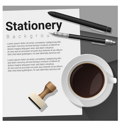 Stationery scene with office equipment background vector