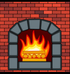 Stone fireplace in brick wall vector