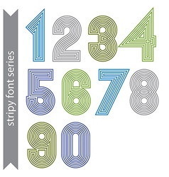 Stripy geometric numbers made with parallel vector image