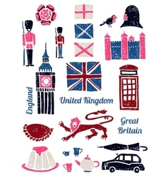 Symbols of uk set in lino style vector