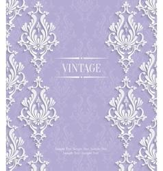 Violet 3d Vintage Invitation Card with vector image vector image