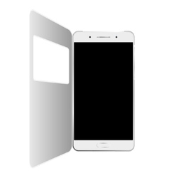 White smartphone in case isolated vector image vector image