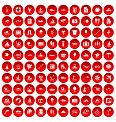 100 water recreation icons set red vector
