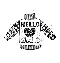 Hello winter text and knitted wool sweater with a vector