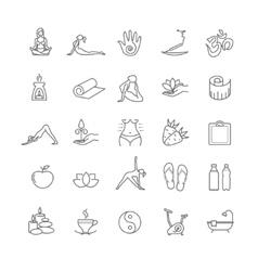 Thin line yoga icons set health life vector image
