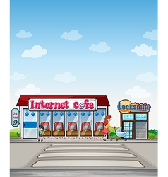 Internet cafe and locksmith shop vector image