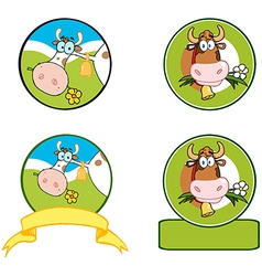 Dairy cow cartoon banner collection vector