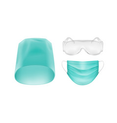 Set of medical accessories on white background vector
