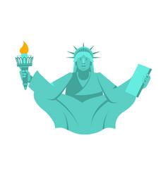 America yoga statue of liberty in lotus posture vector