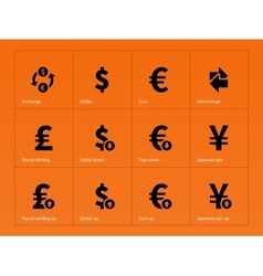 Exchange rate icons on orange background vector