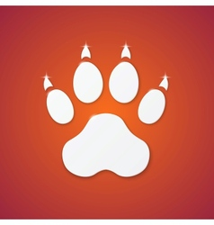 Shiny plastic trace of dog on orange background vector