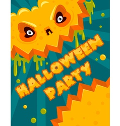 Halloween party pumpkin banner vector