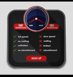 Speed meter with slow and fast download or upload vector image