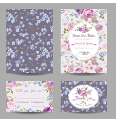 Invitation or congratulation card set vector
