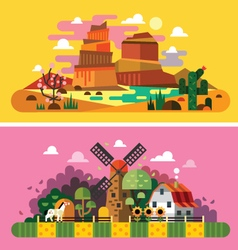 Village sunset landscapes vector