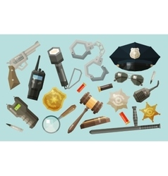 Police security icons set collection of elements vector