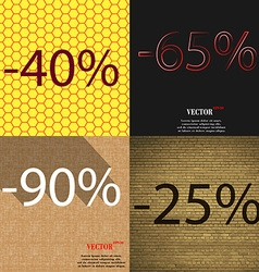 65 90 25 icon set of percent discount on abstract vector