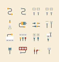 Linear web icons set - cable wire computer vector