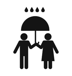 Man and woman under the umbrella vector