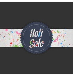 Holi sale blue label and color splashes on ribbon vector