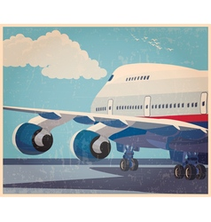 big civil aircraft old poster vector image