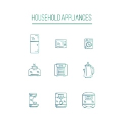 Kitchen appliances icons white background vector