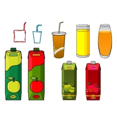 Apple juice design elements in cartoon style vector image vector image
