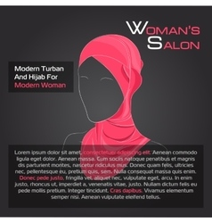 Arabic woman in red hijab on black vector