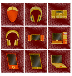 assembly flat shading style icons gadgets vector image
