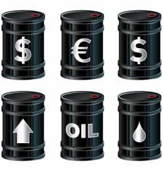 black oil barrels with insignia vector image vector image