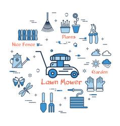 blue gardening - lawn mower vector image