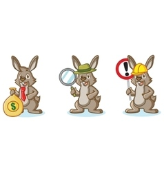 Brown Bunny Mascot with money vector image vector image