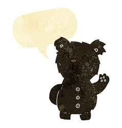 cartoon black bear with speech bubble vector image vector image
