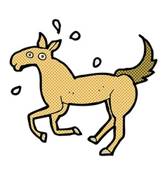 Comic cartoon horse sweating vector