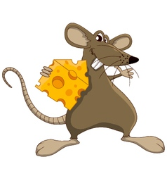 Cute cartoon mouse with cheese vector image