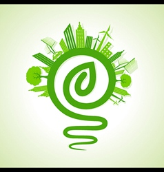 Eco cityscape with light-bulb and leaf icon stock vector