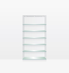 Empty glass shelves on white wall vector image