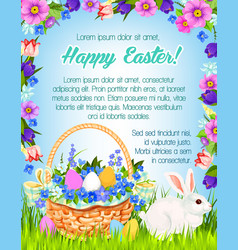 Happy easter paschal greeting poster vector