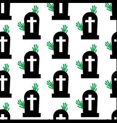 Headstone and zombie pattern vector