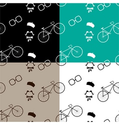 Hipster with modern bike pattern vector