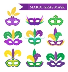 Mardi Gras mask set design element flat style vector image vector image